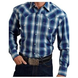 Stetson Western Shirt Mens Plaid Long Sleeve Blue 11-001-0478-0719 BU