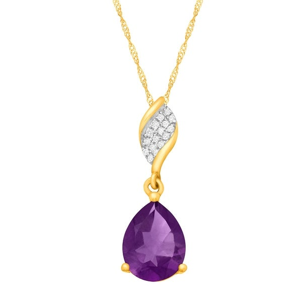 1 3/8 ct Natural Amethyst Pendant with Diamonds in 10K Gold - Purple