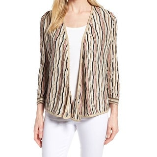Nic + Zoe Beige Womens Size Medium M Oopen Front Cardigan Sweater