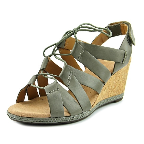 Clarks Helio Mindin Women Open Toe Leather Gray Wedge Sandal