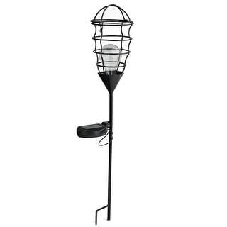 "23.5"" Black Geometric Solar Powered LED Outdoor Patio Metal Lantern with Garden Stake"