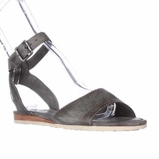 FRYE Mandy Ankle Strap Flat Sandals - Charcoal