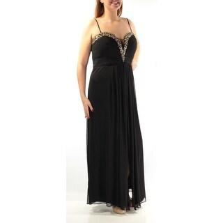 Womens Black Spaghetti Strap Full Length Formal Dress Size: 14W