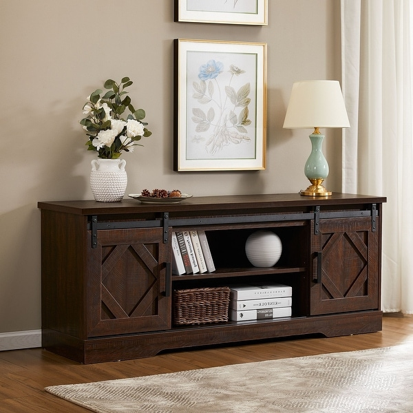 Farmhouse Sliding Barn Door TV Stand for 32-65 inch TV. Opens flyout.