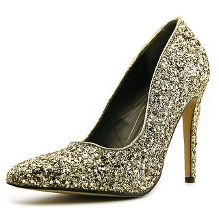 Michael Antonio Lamiss Women Pointed Toe Synthetic Gold Heels