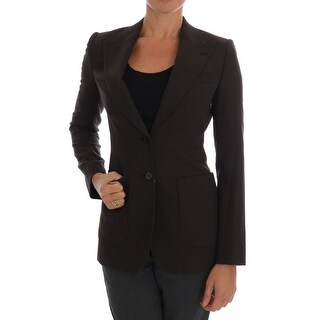 Dolce & Gabbana Brown Wool Cotton Two Button Blazer Jacket - it36-xs