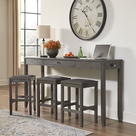 Caitbrook Rectangular Dining Room Counter Table Set of 4, Gray