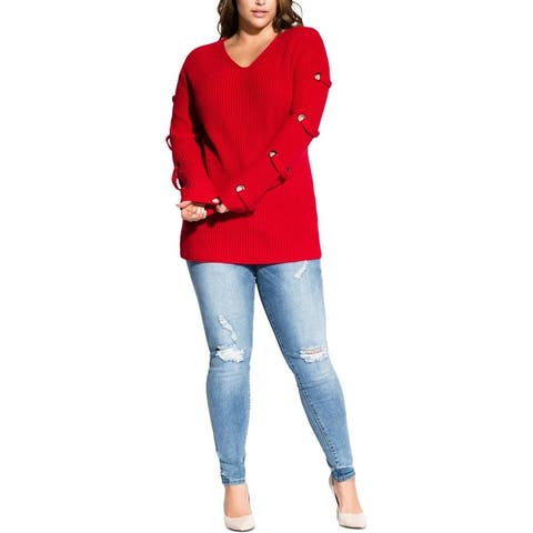 City Chic Womens Plus Pullover Sweater Grommet V-Neck - Power Red