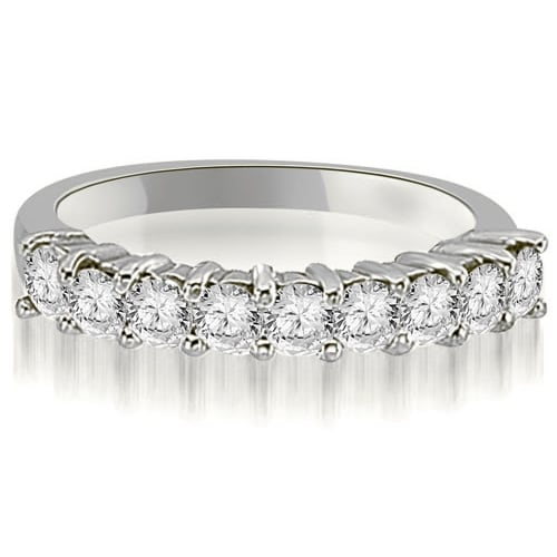 0.60 cttw. 14K White Gold Round Diamond 9-Stone Prong Wedding Band