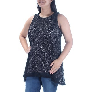 Womens Black Floral Sleeveless Jewel Neck Casual Trapeze Top Size L