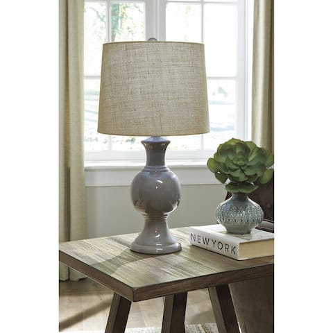"Magdalia Gray 25 Inch Table Lamp - 13"" W x 13"" D x 25.75"" H"