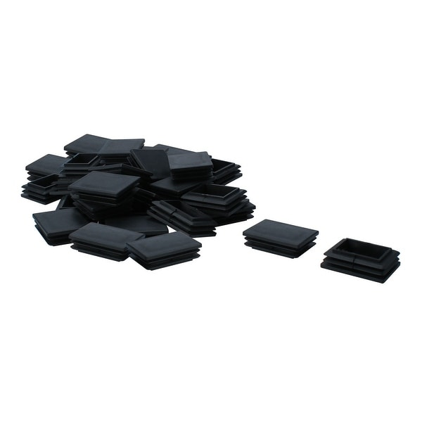 35pcs 40 x 50mm Plastic Rectangle Ribbed Tube Inserts End Cover Cap Furniture Chair Table Feet Floor Protector
