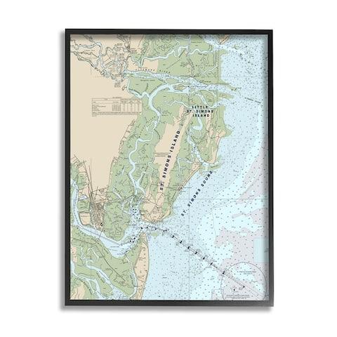 Stupell Industries Traditional St. Simons Island Nautical Map Blue Green Framed Wall Art