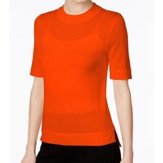 DKNY NEW Orange Crewneck Women's Small S Elbow-Sleeve Knit Top Wool
