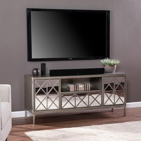 Silver Orchid Duxbury Glam Silver Wood TV/Media Stand