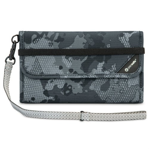 Pacsafe 10571802-Grey Camo RFIDsafe Blocking Travel Wallet w/ Detachable Strap