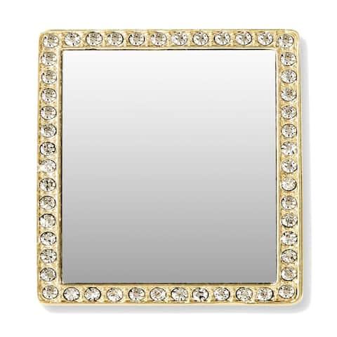 iDecoz Phone Mirror: Gold Square w/ Crystals - Multi