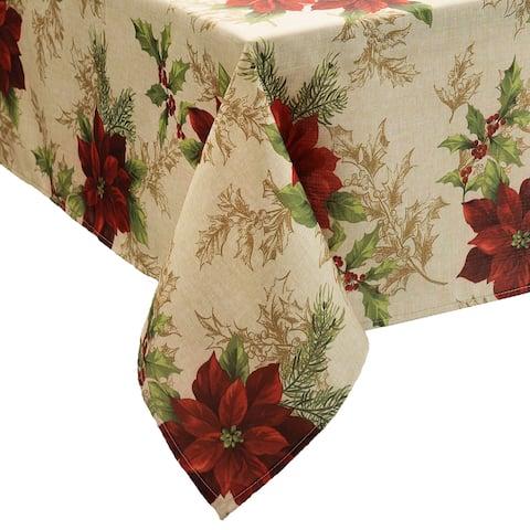 Festive Poinsettia Holiday Fabric Tablecloth