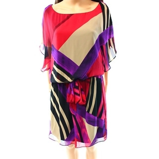S.L. Fashions NEW Pink Women's Size 18 Chiffon Abstract Blouson Dress