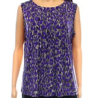 Calvin Klein NEW Purple Women's Size Large L Printed Stretch Blouse