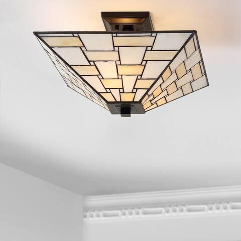 Jason Glass/Metal LED Semi-Flush Mount, White/Cream by JONATHAN Y