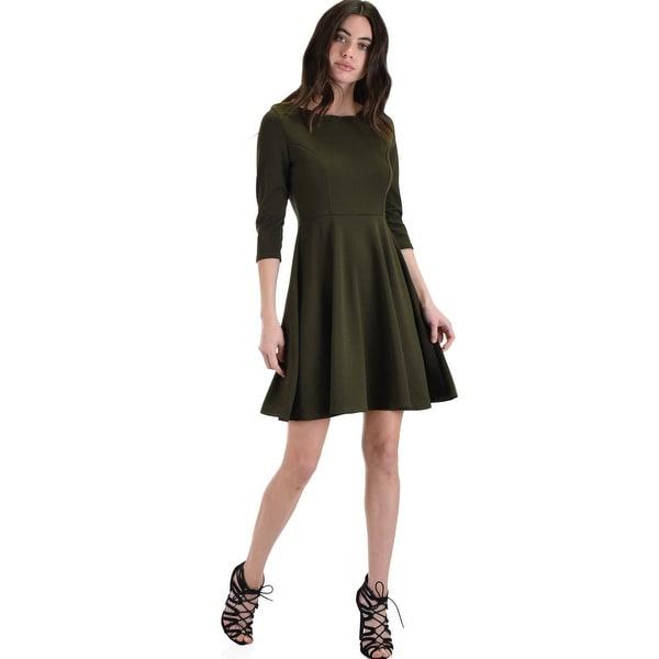 bb686ee82992b so good olive scallop neck line skater dress-Olive-Medium