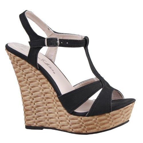 Blossom Women Nemo-16 Wedge T-Strap Sandals