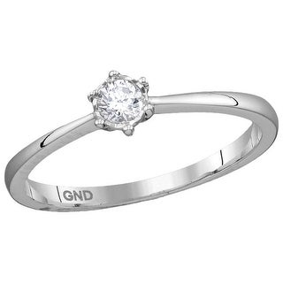 10k White Gold Womens Natural Round Diamond Bridal Wedding Engagement Ring 1/7 Cttw
