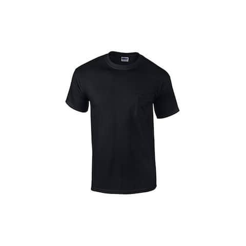 Gildan G205340BLK-M Men's Short Sleeve Pocket Tee Shirt, Medium, Black, 2-Pk