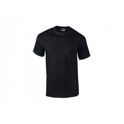 Gildan G205340BLK-XXL Men's Short Sleeve Pocket Tee Shirt, XXL, Black, 2-Pk
