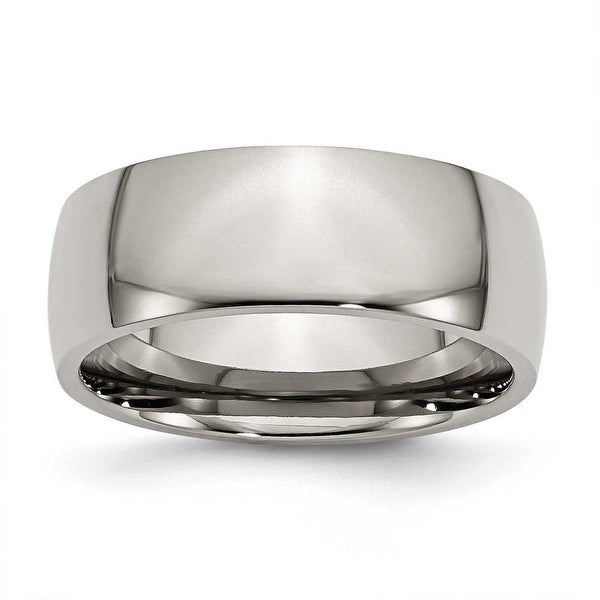 Chisel Rounded Polished Titanium Ring (8.0 mm)