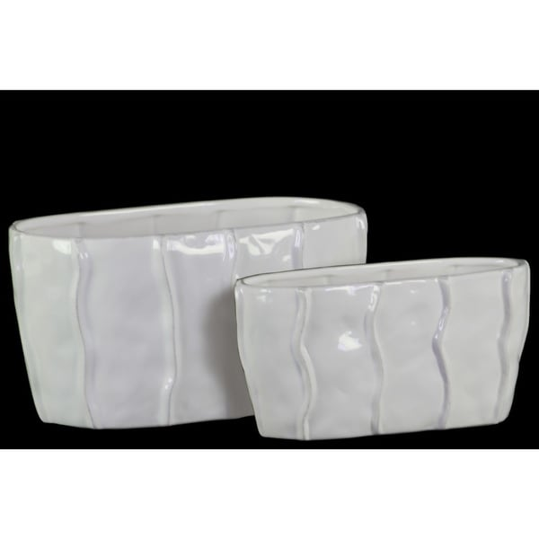 Oval Shaped Ceramic Pot with Embedded Wave Design, Glossy White, Set of 2