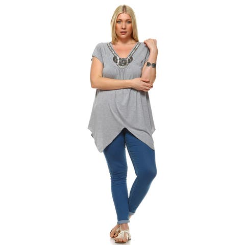 Plus Size Grace Embellished Top - Grey