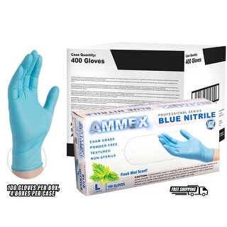 AMMEX MNPF Mint Scented Nitrile Exam Latex Free Disposable Gloves (Case of 400) - Small