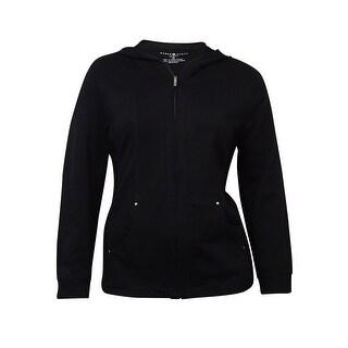 Karen Scott Women's Ribbed Hooded Pocket Zip Track Jacket