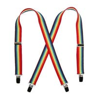 CTM® Kids' Elastic 1 Inch Wide Clip-End Rainbow Stripe Suspenders