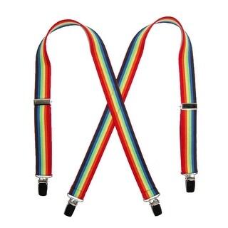 CTM® Kids' Elastic 1 Inch Wide Clip-End Rainbow Stripe Suspenders