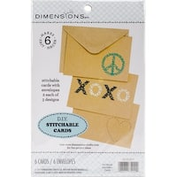 "Dimensions Stitched Card Blanks-7""X5"" 6/Pkg"