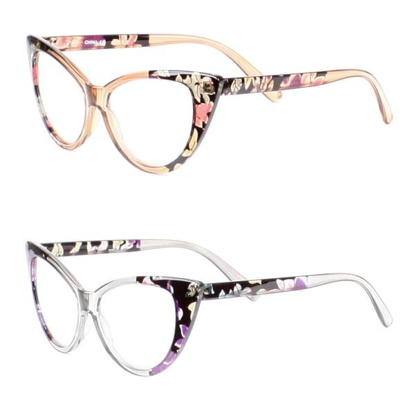 Womens Cat Eye Reading Glasses, 2 Pairs - 1 brown, 1 gray
