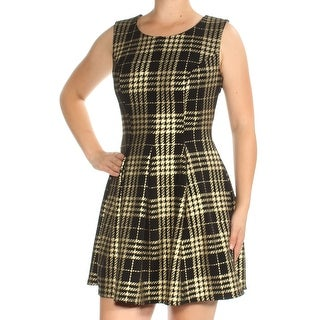Womens Gold Black Plaid Sleeveless Above The Knee Fit + Flare Dress Size: M