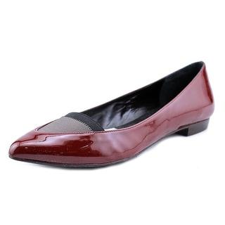 Megumi Ochi M13-0600 Women Pointed Toe Patent Leather Burgundy Flats