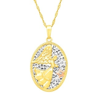 Crystaluxe Angel Pendant with Swarovski Crystals in 18K Gold-Plated Sterling Silver - White