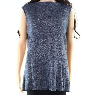 IMAN NEW Blue Womens Size Large L Shimmer Luxe Sleeveless Sweater