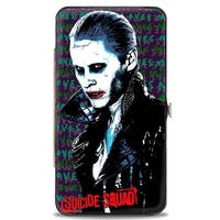 Suicide Squad Joker Pose2 Close Up He Loves Me Purples Greens Red Hinged Hinge Wallet - One Size Fits most