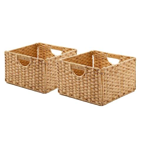 Seville Classics Foldable Handwoven Cube Storage Basket (2-Pack)