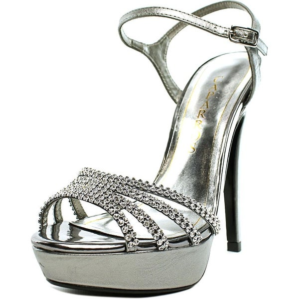 Caparros Belle Women Open Toe Canvas Silver Platform Heel
