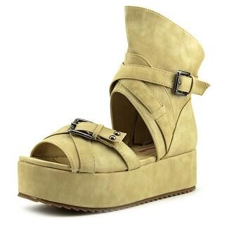 C Label Mollini 25 Women Open Toe Leather Nude Platform Sandal