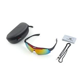 ROBESBON Authorized Exercise Rimless Eye Frame Lens Cycling Glasses Red Set