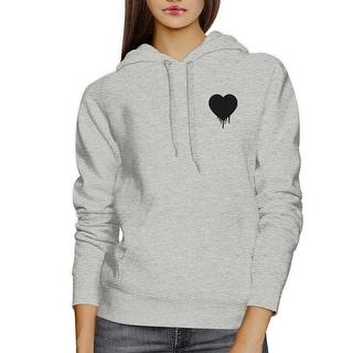 Melting Heart Unisex Gray Hoodie Heart Design Pocket Size Graphic