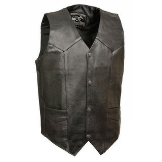 Mens Classic Snap Front Leather Biker Vest